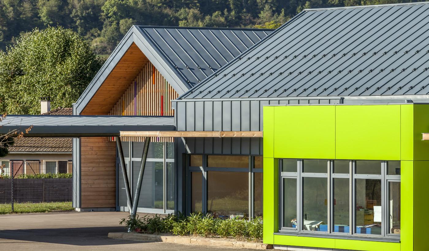 cubierta y fachada elZinc Rainbow azul